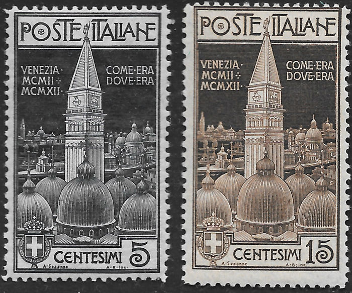 Italia Regno 191271924 . lot of five complete series: Campanile, Red Cross, Vittoria, Marcia on Rome, overprinted Victory