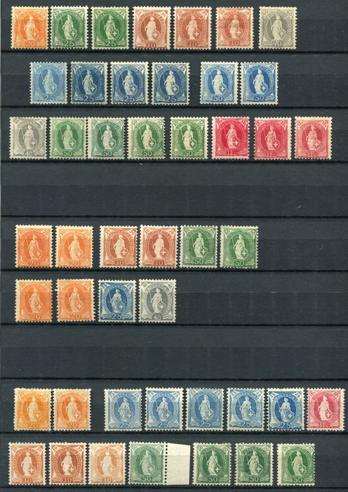 Switzerland 1882/1908 - Standing Helvetia, color and perforation varieties