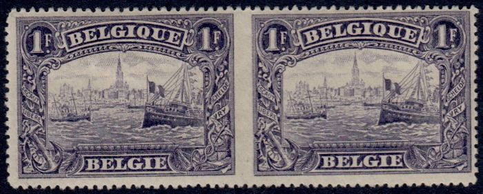 Belgium 1916 - 1 Fr Antwerp in pair IMPERFORATED between 2 stamps - OBP 145 with photo certificate FNIP