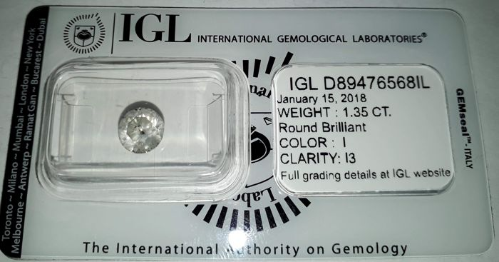 1.35 CT Round Brilliant Cut I / I3 *** No Reserve ***