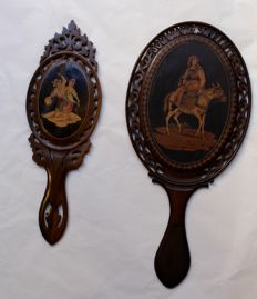 Two carved and inlaid mirrors from Sorrento Italy, 19th century