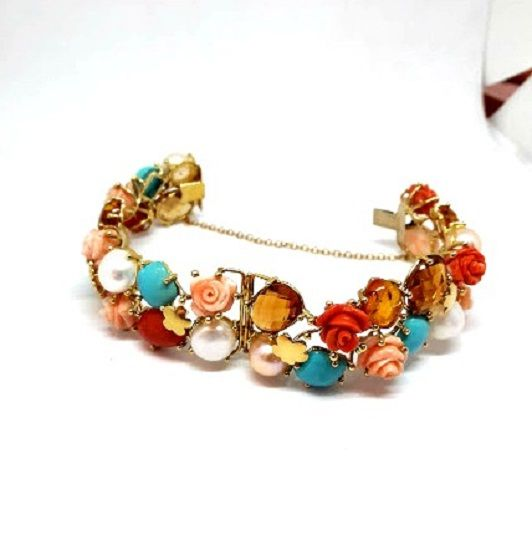 Yellow gold bracelet with topazes, amber, coral, natural pearls - length 18.5 cm