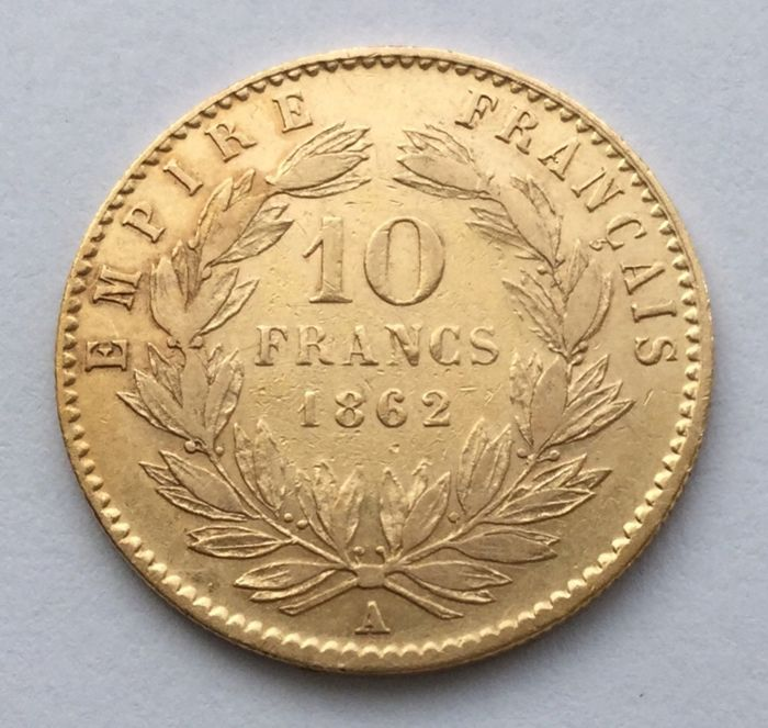 France - 10 Francs 1862 A Napoleon III. - Gold