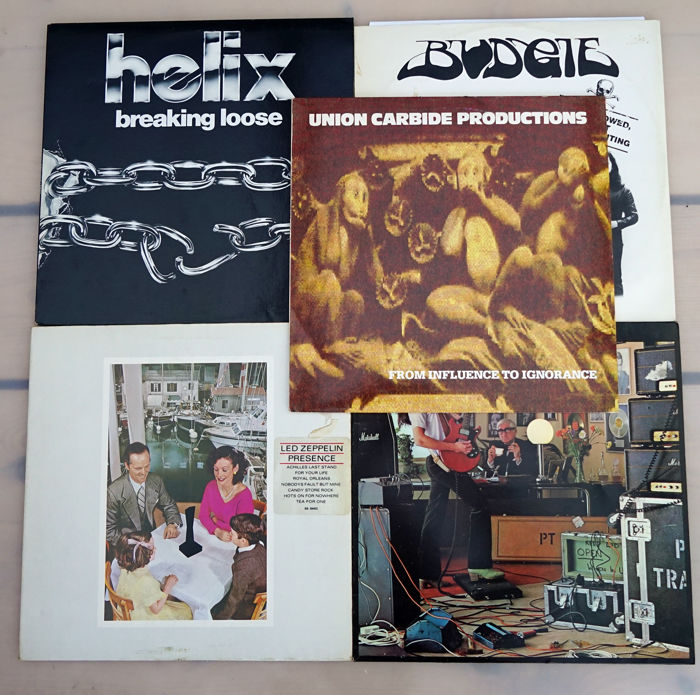 Lot of 5  Hard Rock Vinyl from Union Carbide Productions / Helix /  Pat Travers / Budgie and Led Zeppelin.