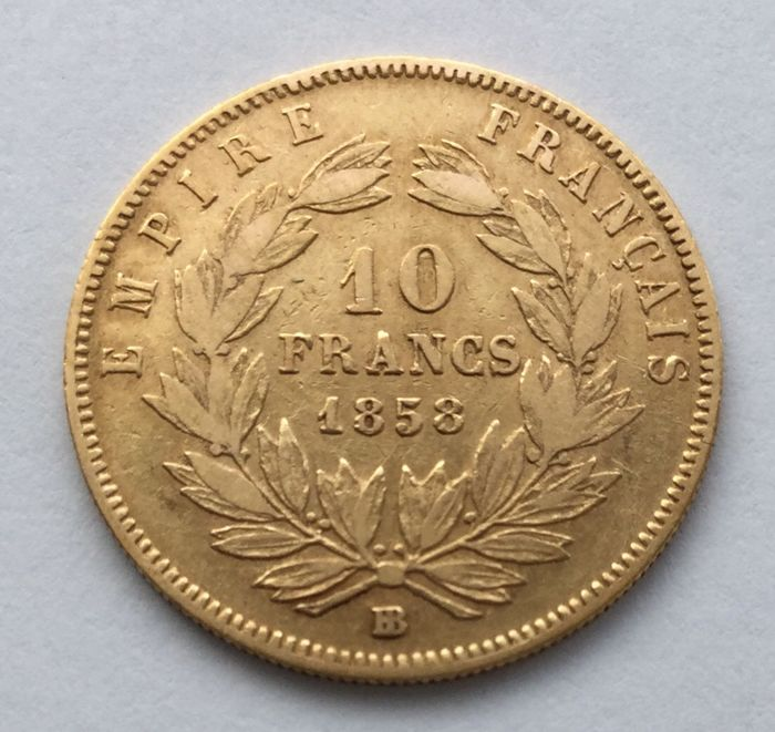 France – 10 Francs 1858 BB – Napoleon III – gold