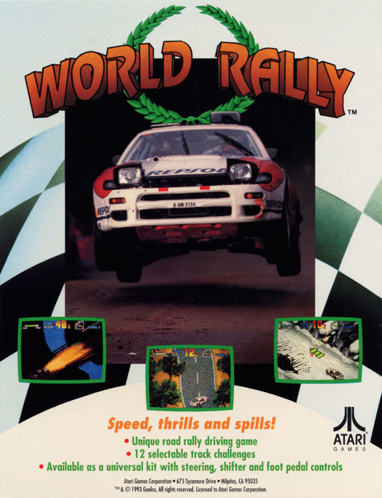 """World Rally"" arcade game card - made by Gaelco in 1993"