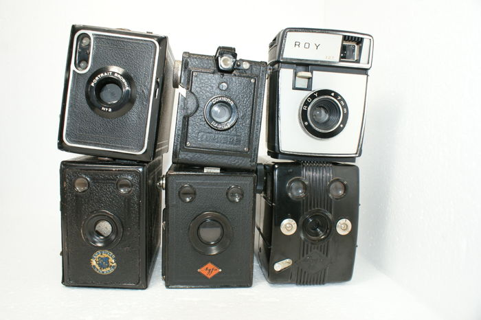 A lot of 6 box cameras, various types and various years of production