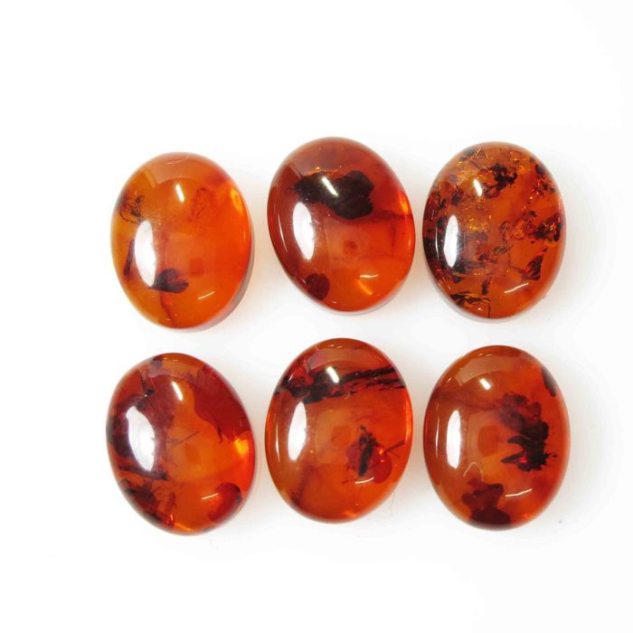 Red amber cabochons - 10.2x8.1x4.3 mm  7.18  ct (6pcs)