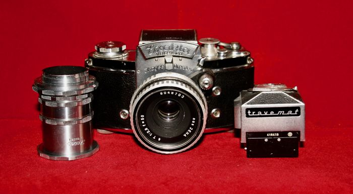Exakte Varex llb with Travemat, waist level viewfinder and original extension rings