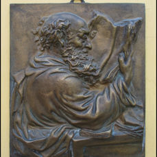 Bronze plaque Johan Gutenberg in haute relief