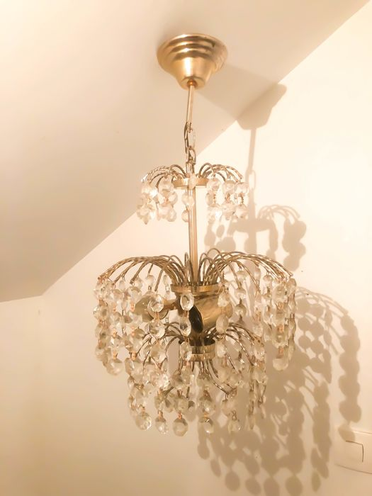 Lustre Chandelier Pampilles Breloques Laiton Catawiki