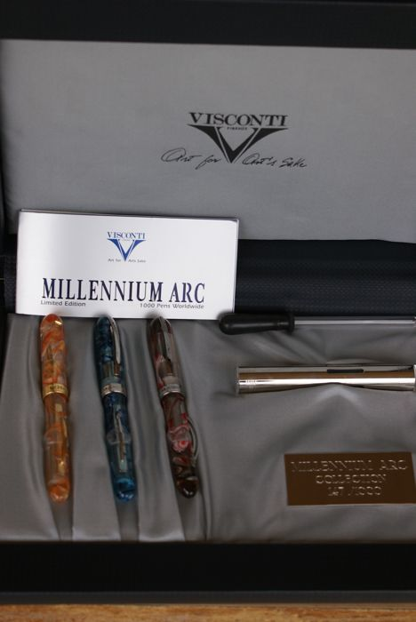 Exceptional Case Containing 3 New 18K Visconti Limited Edition Millennium Arc Fountain Pens