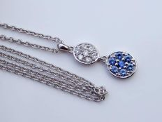 Necklace with pendant with diamonds and sapphires – 18 kt white gold – new condition –