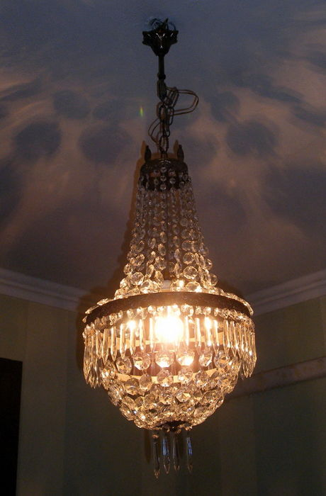 Empire Style Balloon Chandelier In Crystal And Brass Italy 1950s