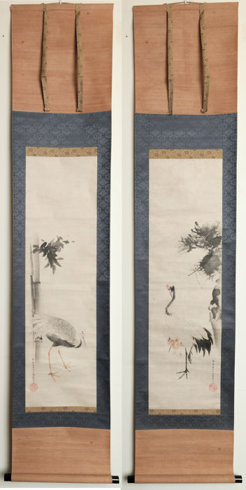 "Two Japanese Hanging Scrolls on paper - ""Cranes"" - signed Kaan Busei (= Kita Busei)  - Japan - 1850"