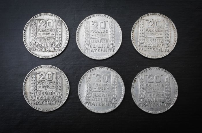 France - 20 Francs 1933/1938 'Turin' (lot de 6 monnaies) - argent