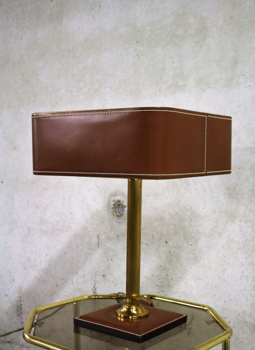 Unknown designer - Faux leather and brass table lamp