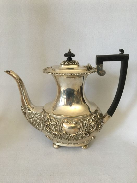 Edwardian silver teapot - George Nathan & Ridley Hayes - Chester - 1905