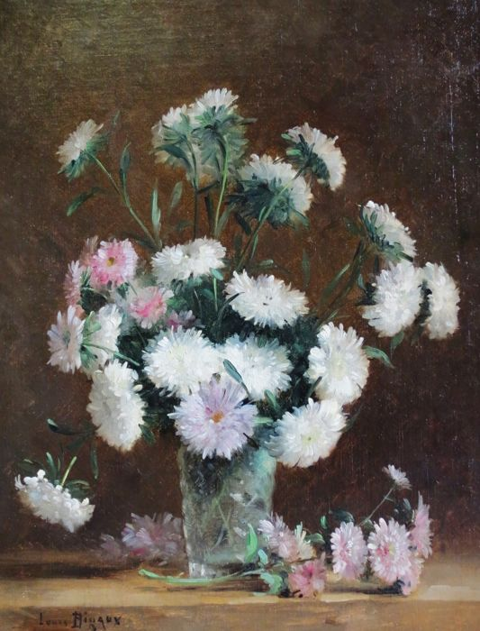 Louis Bigaux - Bouquet de Dahlias