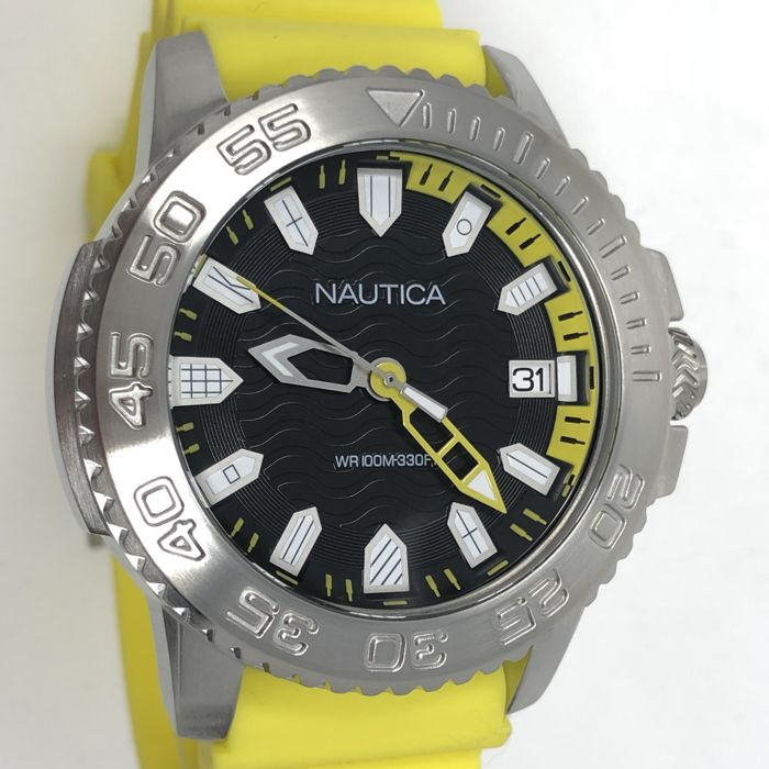 Nautica - Black Dial 45 mm with Day Yellow Silicone Strap  - KYWNAPKYW003  - Heren - NEW
