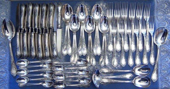 Gorgeous silver cutlery Rococo 53 pieces for 12 people