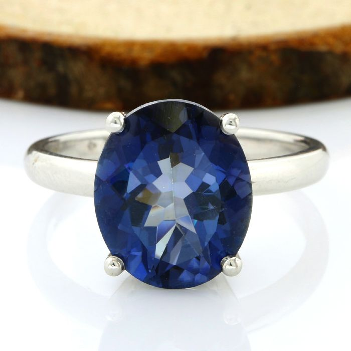 No Reserve Price - 14kt White Gold 6.50ct Oval Cut Blue Topaz Ring; Size: 7