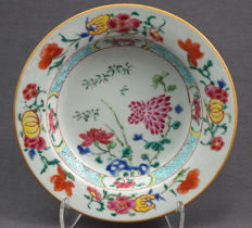 Famille pink plate with the decoration of peony and 'Buddha's Hand' - China - 18th century