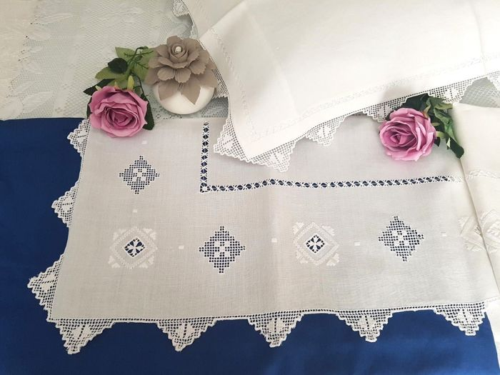 Rich pure linen bed sheet with handmade Sicilian pulled thread and antique stitch embroidery