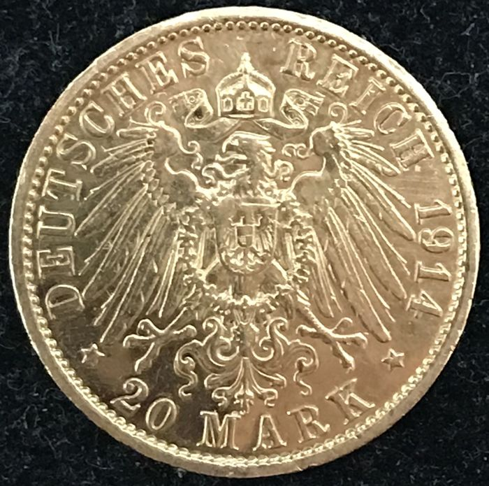 Germany - 20 Mark 1914A - Wilhelm II - gold