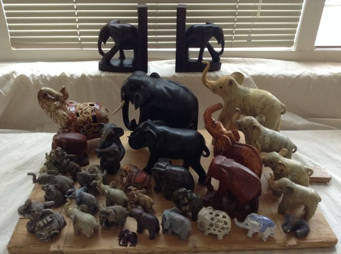 Collection of 30 elephants, including a set of bookends