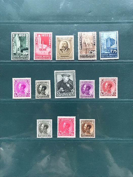 Belgium 1933/1934 – Selection with including Invaliden, Expo and Francois de Tassis – OBP 385/403 and 410