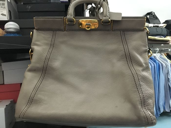 Prada - Taupe Cervo Leather Frame Handbag