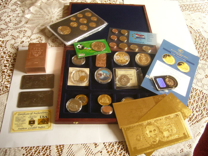1  kilo  copper  suisse  + 2 bullion titanium  999/1000  + set 9 coin malte gold plated + grain gold + a lot of coin and bullion and banknote gold plated
