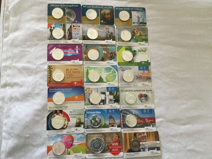 The Netherlands - 2 Euros/10 Euros 2005/2017 - 21 pieces in coin card, silver among others
