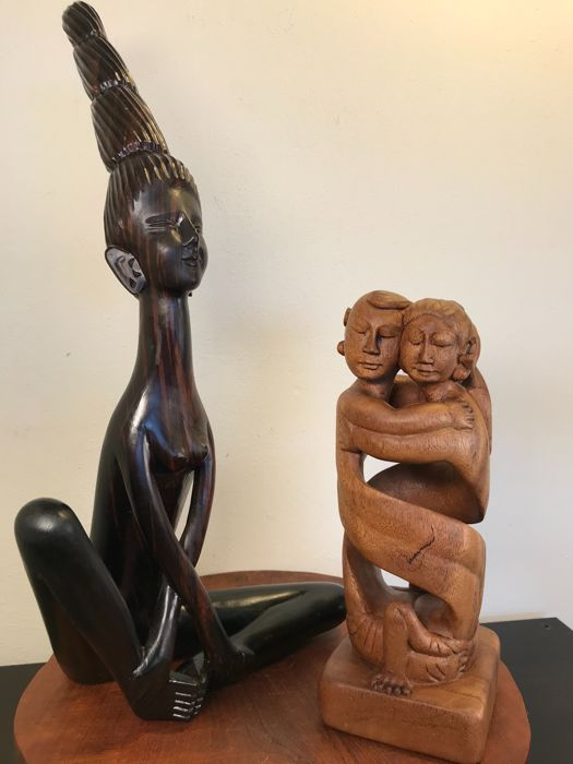 Two modern wooden statues - Bali, Indonesia - 2nd half 20th century
