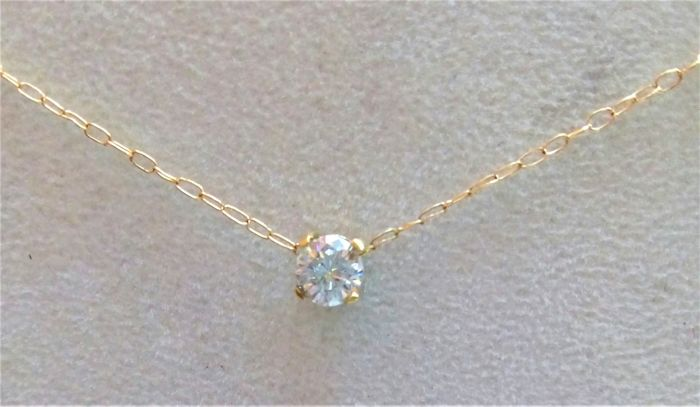 18 kt yellow gold necklace with a 0.50 ct large brilliant cut diamond G - VVS II - NO RESERVE PRICE