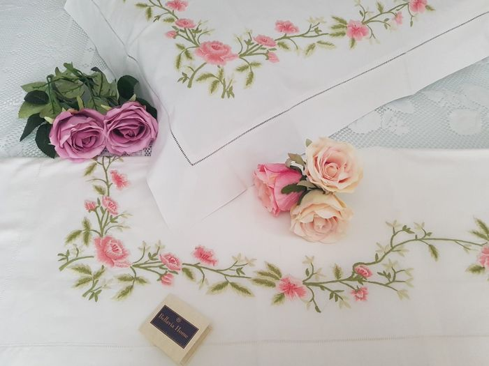 Rich Bellavia bedsheet with pure percale cotton embroidery and handmade satin stitch embroidery