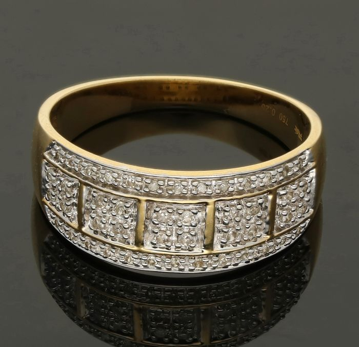 18k - Geelgouden ring bezet met 46 single cut geslepen diamanten van totaal 0,23 ct. - Ringmaat: 20,25 mm