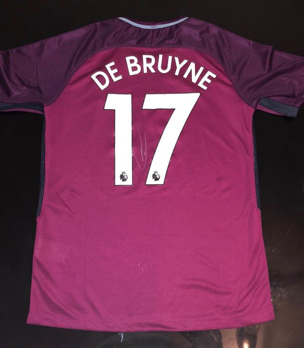 Signed Kevin De Bruyne Manchester City Away Shirt 17/18 Proof