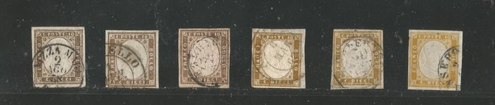 Sardinia 1858/1862 -  10 Cent. 6 specimens in different shades of colour