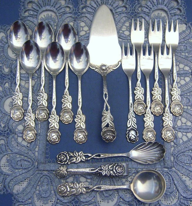 Beautiful silver cutlery set Hildesheim rose for 17 pieces for 6 people