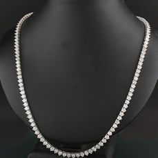 High-quality luxury rivière brilliant necklace totalling 11.67 ct, 585 white gold **NO Reserve Price!**