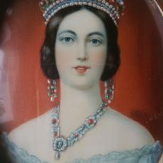 Queen Victoria - Portrait miniature to William Essex - On ivory and in an ivory frame - with tortoiseshell inlay - circa 1900-1920