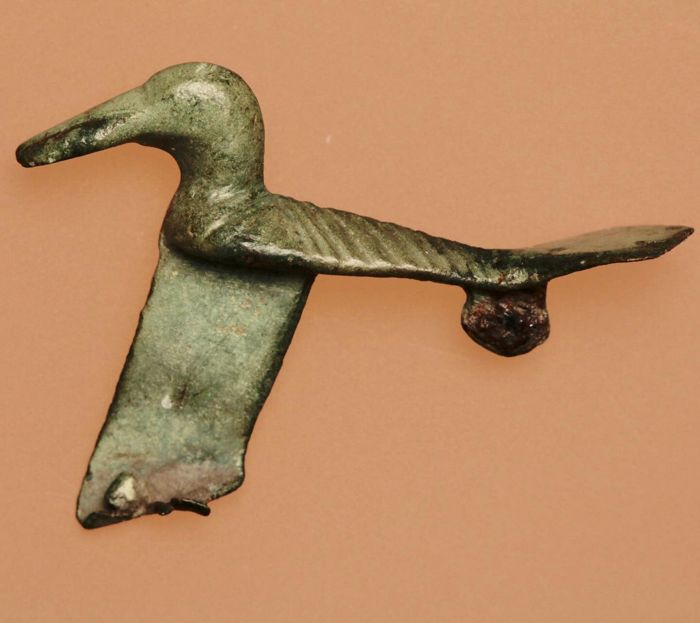 Excellent Ancient Roman Zoomorphic / Animal Brooch Shaped as Bird / 38mm.