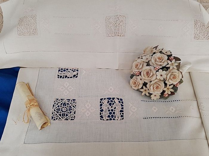 double bed sheet in 100% pure linen with hand needle stitch embroidery - Linen - AFTER 2000