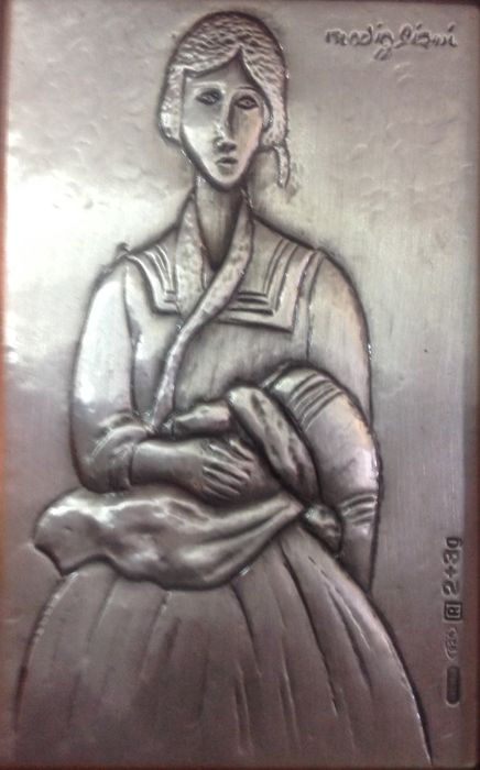 "Amedeo Modigliani ""Bohemienne"" Engraving on rolled silver - signed - 1960s"