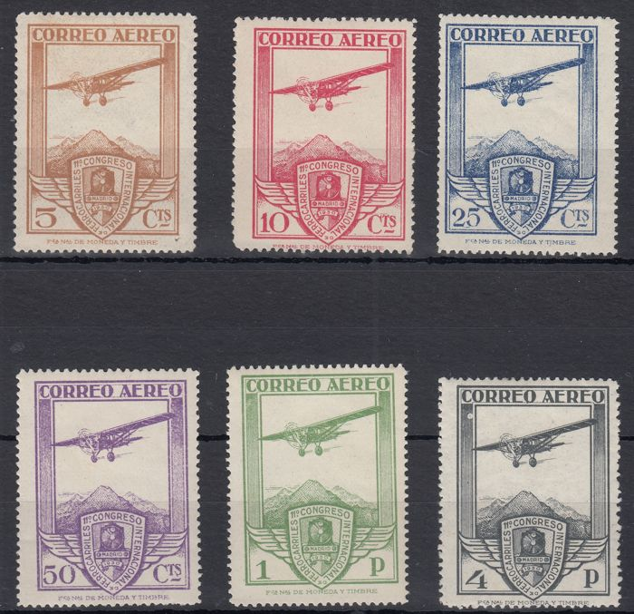 Spain 1930 -  11th International Railway Congress Airmail - Edifil 483/488
