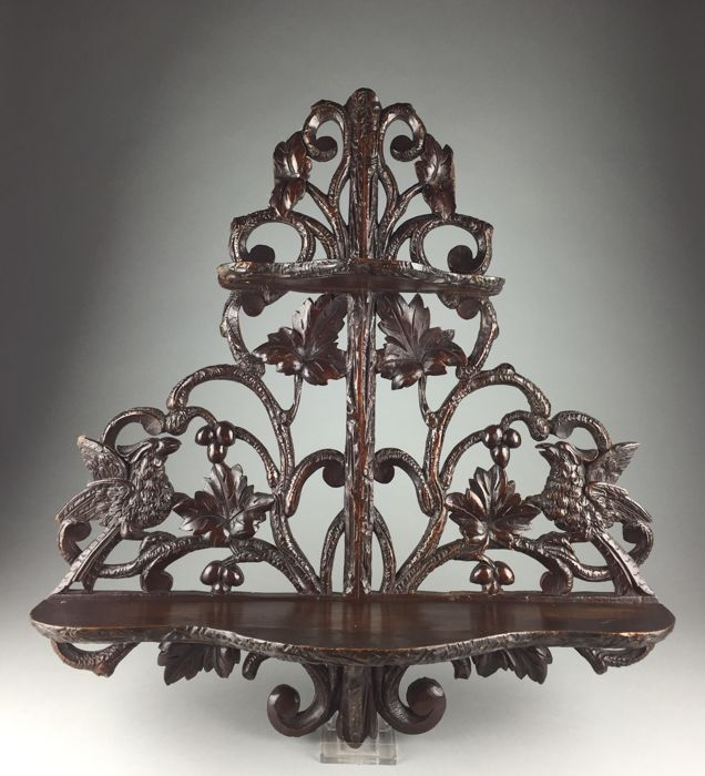 Softwood Black Forest wall etagere - Germany/Switzerland - ca. 1900