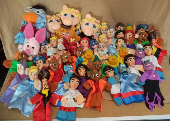 Collection of 48 Disney & Muppets hand puppets