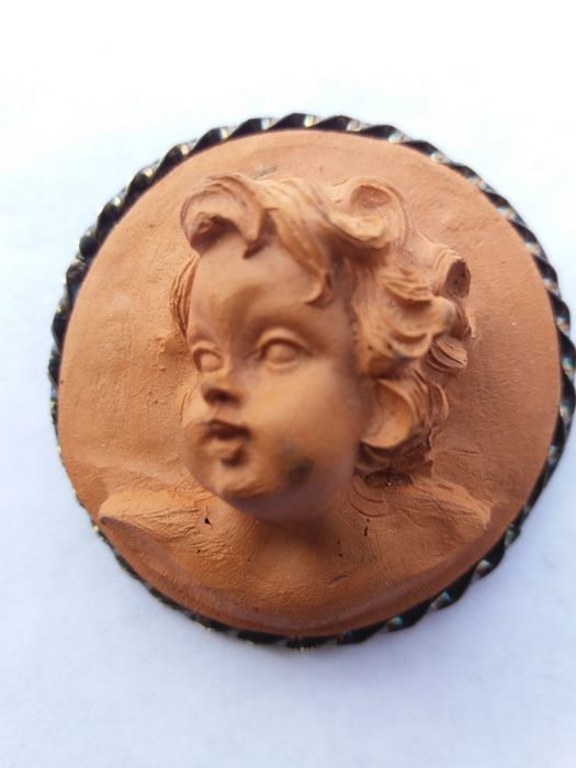 Terracotta cameo with burnished 925 silver frame, 1950s
